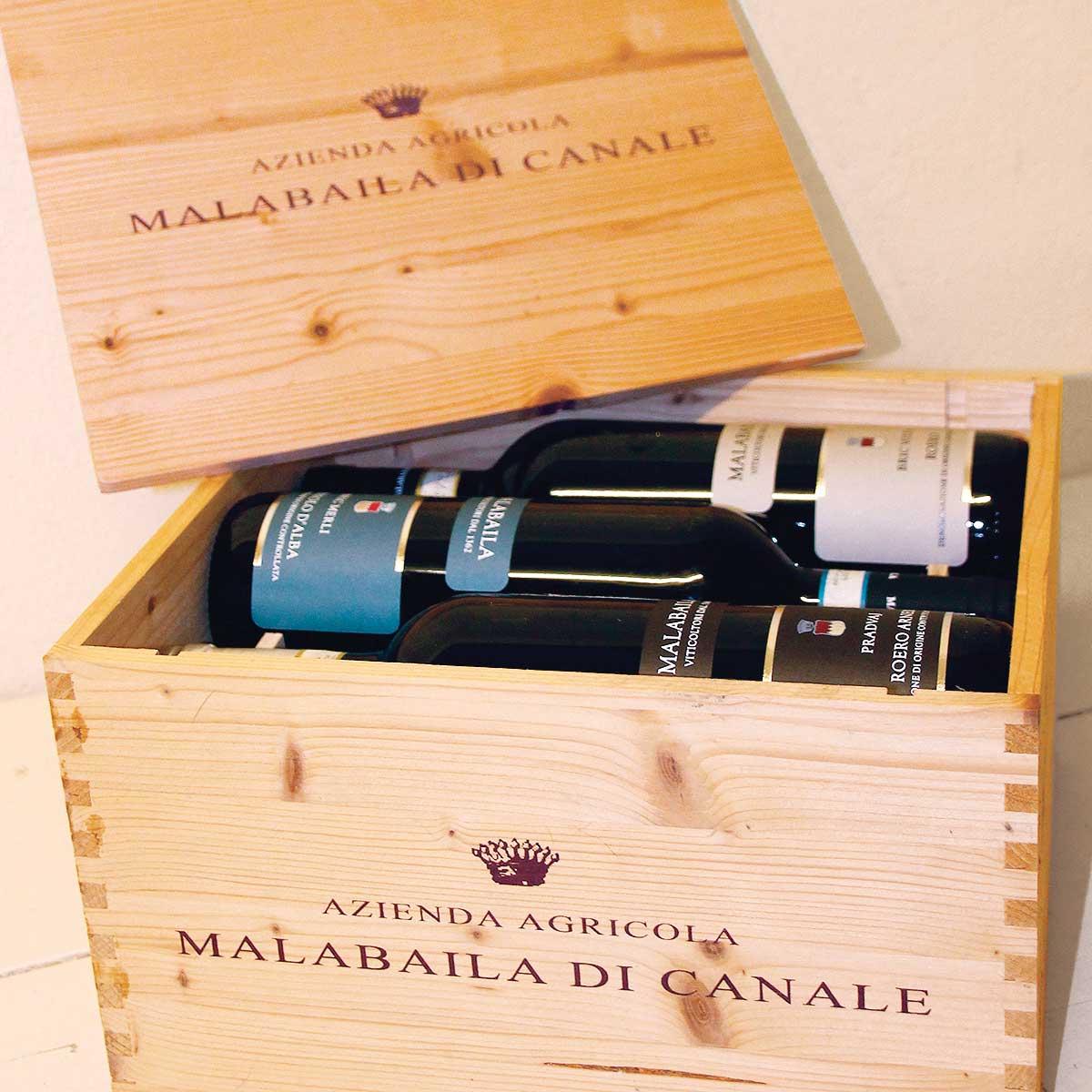 """Cassetta in legno """"Malabaila"""" con sei bottiglie, bis"""