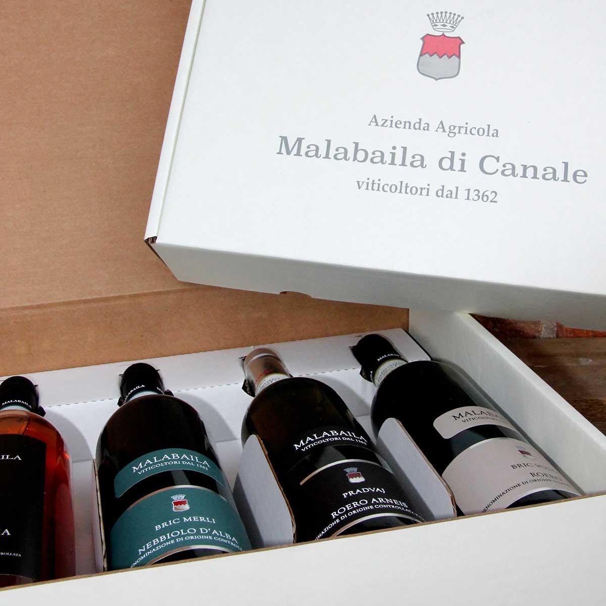 """Scatola in cartone """"Malabaila"""" con quattro bottiglie."""